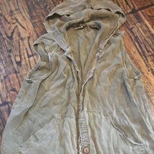 Army green casual vest with hood